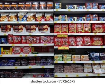 petaling jaya,selangor Malaysia - circa October 2017 : assortment brand of biscuit on sale at Giant supermarket located at petaling jaya,selangor,malaysia