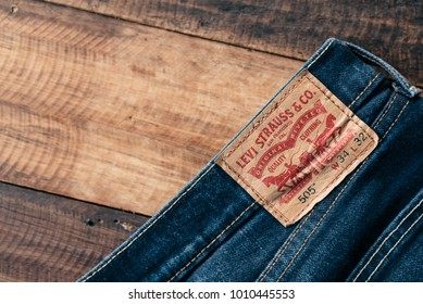 Petaling Jaya,Selangor,Malaysia - Jan 24th 2018 : detail of the back of a pair of levi's jeans. Levi Strauss is a famous American clothing company