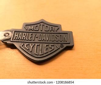 Petaling Jaya,Selangor,Malaysia , October, 2018: Harley-Davidson sign and logo key chain on the table . Harley-Davidson, Inc. is an American motorcycle manufacturer.