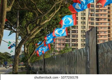 Petaling Malaysia Apr 25, 2018. Party flags put up along the streets of the suburb Petaling in conjunction of impending general election