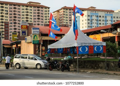 Petaling Malaysia Apr 25, 2018. Election campaign booth set up along the streets of the suburb Petaling in conjunction of impending general election