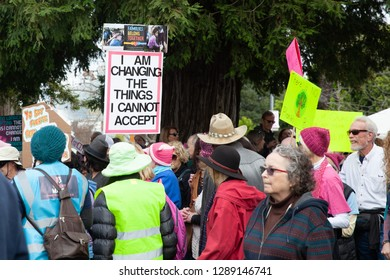 Petaluma, CA, USA - January 19, 2019: Participants in the Indivisible Petaluma Women's March.