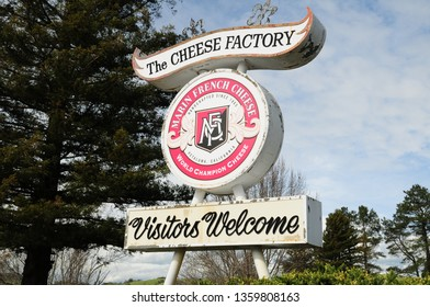 Petaluma, California / USA - March 26, 2019: Marin French Cheese Factory Sign, Visitors Center and Factory