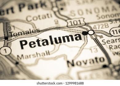Petaluma. California. USA on a map