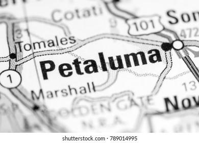 Petaluma. California. USA on a map.