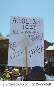 Petaluma, CA/USA-June 30, 2018: Abolish Ice sign during Keep Families Together March