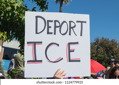Petaluma, CA/USA-June 30, 2018: Deport ICE sign during Keep Families Together March
