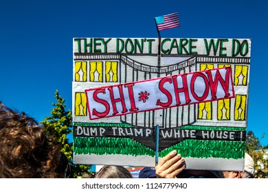 Petaluma, CA/USA-June 30, 2018: Hand made sign shows White House as a Shi*show during Keep Families Together March