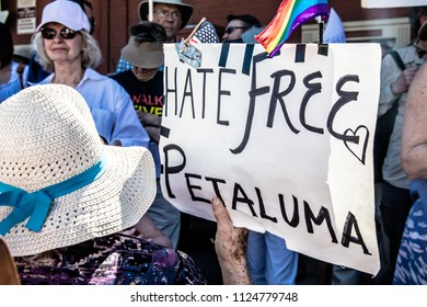 Petaluma, CA/USA-June 30, 2018: Hate Free Petaluma sign during Keep Families Together March