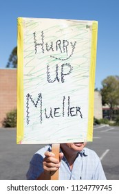 Petaluma, CA/USA-June 30, 2018: Hurry Up Mueller sign during Keep Families Together March