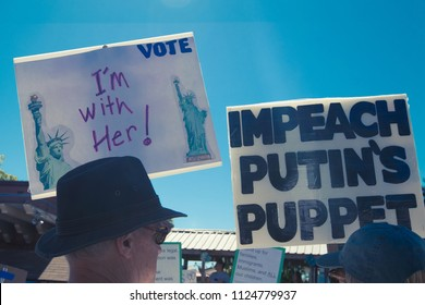 Petaluma, CA/USA-June 30, 2018: Impeach Putin's Puppet sign during Keep Families Together March