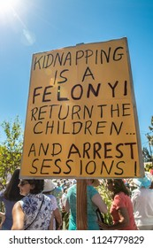 Petaluma, CA/USA-June 30, 2018: Kidnapping is a Felony sign during Keep Families Together March