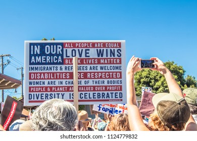 Petaluma, CA/USA-June 30, 2018: In Our Country Love Wins sign during Keep Families Together March