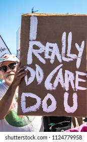 Petaluma, CA/USA-June 30, 2018: I Really Do Care sign during Keep Families Together March