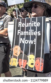 Petaluma, CA/USA-June 30, 2018: Reunite Families Now sign with children behind bars during Keep Families Together March