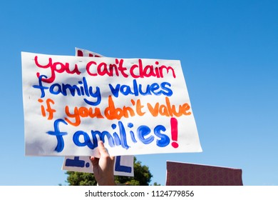 Petaluma, CA/USA-June 30, 2018: Sign about family values Keep Families Together March