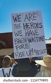 "Petaluma, CA/USA-June 30, 2018: Sign says, ""We are the Heroes We've Been Waiting For"" during Keep Families Together March"