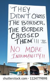 Petaluma, CA/USA-June 30, 2018: Sign about immigrants during Keep Families Together March