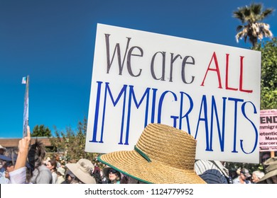 "Petaluma, CA/USA-June 30, 2018: Sign says, ""We are All Immigrants"" during Keep Families Together March"