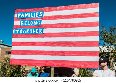Petaluma, CA/USA-June 30, 2018: Sign like American Flag during Keep Families Together March