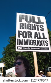 Petaluma, CA/USA-June 30, 2018: Sign-Full Rights for Immigrants - during Keep Families Together March