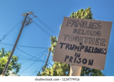 Petaluma, CA/USA-June 30, 2018: Trump Belongs in Prison sign during Keep Families Together March