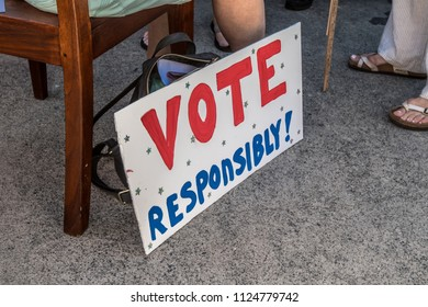 Petaluma, CA/USA-June 30, 2018: Vote Responsibility sign during Keep Families Together March