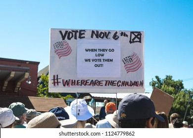 Petaluma, CA/USA-June 30, 2018: Vote in November sign during Keep Families Together March
