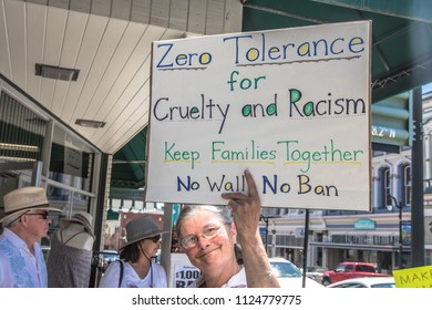 Petaluma, CA/USA-June 30, 2018: Woman holds up a sign-Zero Tolerance for cruelty and racism during Keep Families Together March