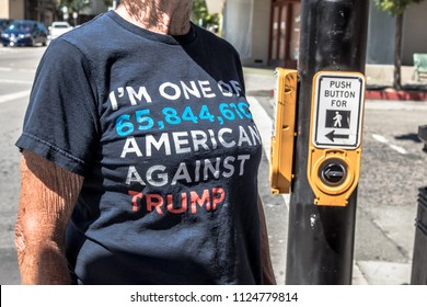 Petaluma, CA/USA-June 30, 2018: Woman wears anti-Trump T-shirt during Keep Families Together March