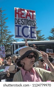 Petaluma, CA/USA-June 30, 2018:Heat Melts ICE sign during Keep Families Together March