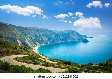 Petani beach, Kefalonia island, Greece. Stunning view of Petani bay in Greek island of Cephalonia.
