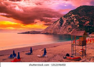 Petani beach, Kefalonia island, Greece. Stunning view of Petani bay at sunset in Greek island of Cephalonia.