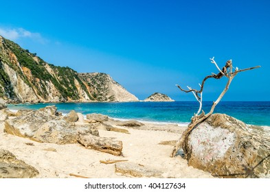 Petani beach, Kefalonia island, Greece. View of Petani bay and beautiful beach, Kefalonia island, Greece.