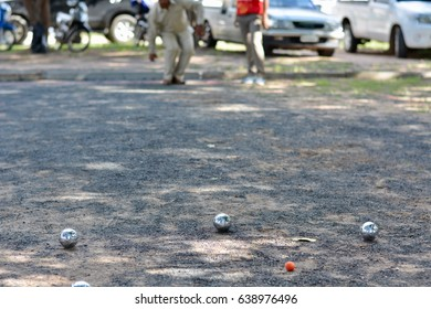 petanque ball. people at sport playing game petanque.