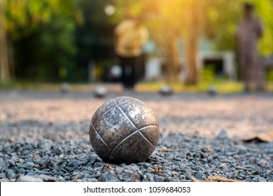 Petanque on blurry background.Petanque French Traditional Game.Photo by select focus.