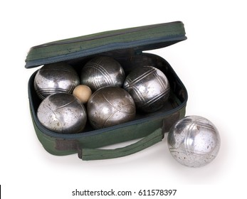 Petanque set with clipping path, isolated on white