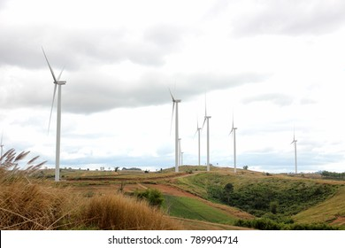 Petchaboon, Thailand - December 30, 2017 - Khao Kor Wind Power to supply wind turbines and to produce clean energy for the Khao Kor wind farm in Petchaboon, Thailand
