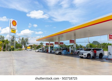 PETCHABURI, THAILAND - OCT 2, 2016: Shell gas station in Cha am district, Petchaburi province, Thailand. Royal Duch Shell is largest oil company in the world.