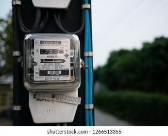 PETCHABURI, THAILAND-23 DECEMBER 2018: Closeup of Electric meters box on the electric pole in countryside.