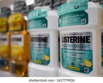 PETCHABURI,THAILAND-2 JUNE 2019:Listerine mouthwash product displayed on shelf for sale in the supermarket.