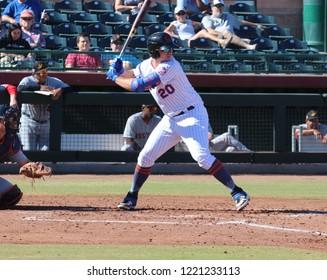 Peter Alonso 3rd basemen for the Scottsdale Scorpions at Scottsdale Stadium in Scottsdale,AZ/USA November 2,2018.