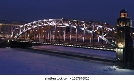 Peter the Great Bridge in Christmas lights