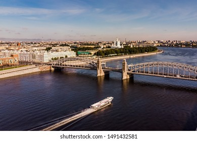 Peter the Great bridge on the background of the Smolny Cathedral. Russia, St. Petersburg. Panoramic shooting from the air.