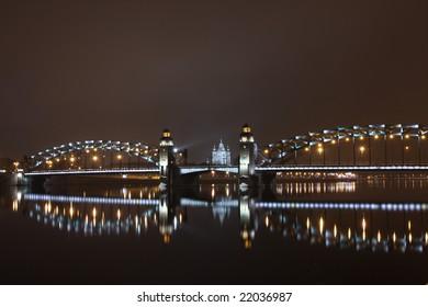 Peter the Great bridge of St. Petersburg over River Neva