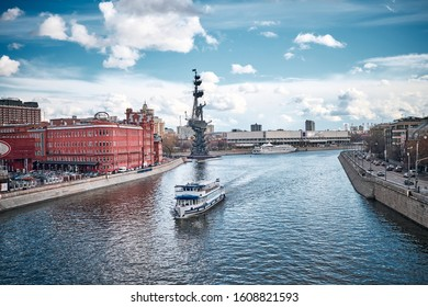 The Peter the Great Statue, located at the confluence of the Moskva River and the Vodootvodny Canal in Moscow, Russia.