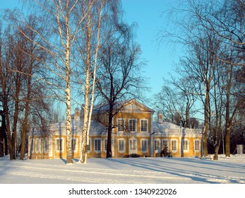 Peter the Great wooden palace in Strelna at winter season
