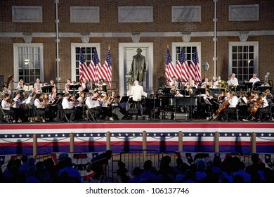 Peter Nero and the Philly Pops performing in front of historic Independence Hall, Philadelphia, Pennsylvania on July 3, 2011