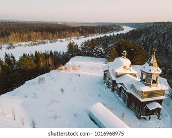 Peter and Paul abandoned church from aerial view. Tom river. Taiga forest. Nagorny Ishtan, Russia