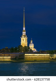 Peter and Paul Fortress and Cathedral at nights. St.-Petersburg, Russia